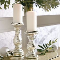 Shop quality decor furnishings at Ballard Designs and style your life to perfection. Mercury Glass Candle Holders, Pillar Candle Holders, Candle Sconces, Pillar Candles, Candle Lighting, Diy Candles, Antique Glass, Antique Bottles, Vintage Bottles