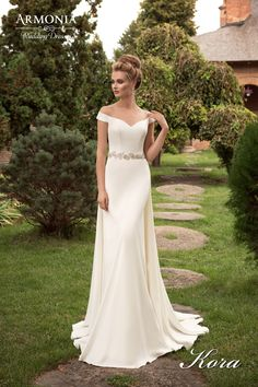Off shoulder neckline for church wedding