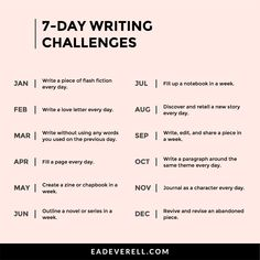 7 Day Writing Challenge List - Monthly Writing Challenges