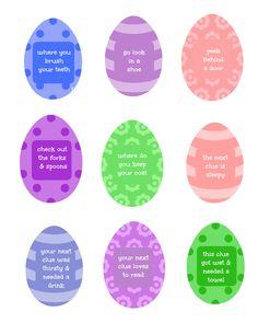 Easter Egg Hunt w/free printable clues!