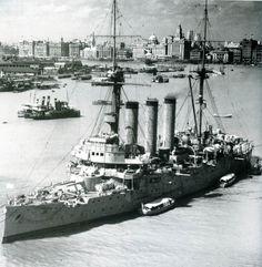 Armored cruiser Izumo in Shanghai harbor, China, late 1937