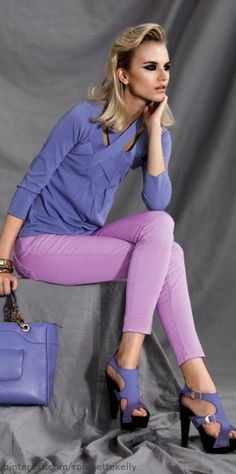 Rainbow Bright Colors / karen cox. Versace Collection | S/S 2013 top, jeans and shoes all in shades of purple