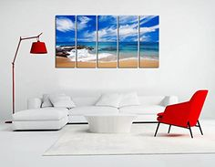 NAN Wind 5 Pcs Seascape Wall Art Beach Stones Canvas Art Paintings For Room Decor Seascape Beach Ocean Waves Picture Prints On Canvas Modern Giclee Stretched And Framed For Home Decor Office Decor >>> Click image to review more details.