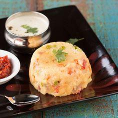 Easy Indian breakfast with semolina and vegetables. (vegan)