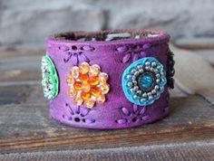 Violet Gypsy Leather Cuff