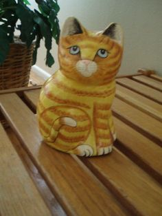 Cat Figurine by Carol Sax Paper Mache Handpainted in India Collectible 1993 | eBay