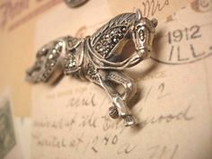 Vintage Sterling HOrse brooch  Equestrian marcasite large figural pin