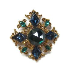 Florenza signed Maltese Cross Brooch Vintage High Dome Blue & Green Rhinestones by MyVintageJewels on Etsy