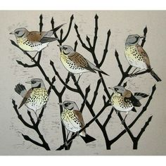 This two plate linocut of Fieldfares is from an edition of 35. It was inspired by a flock of birds on the