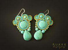 Blue elegant soutache earrings