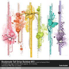 Readymade Tall Strips: Rainbow No. 03 Borders Edges in a rainbow of colors and embellishments #readymade #designerdigitals