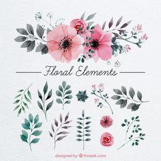 decoração floral pintados com aguarela Vetor grátis