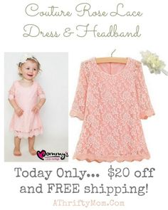 Mommy's Little Darlings Little Girls' Couture Rose Lace Dress & Headband, childrens fashion onlin coupon codes, spring lace dress for toddlers