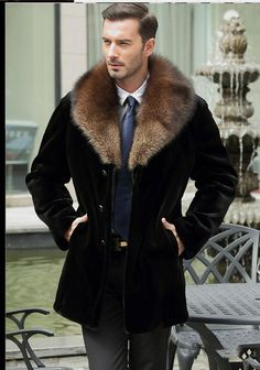 Mens Long Mink Fur Jacket Casual Faux Fur Overcoat Plus Size Black Winter  Autumn Fur Jackets Brand Clothing Jaqueta J1648-11