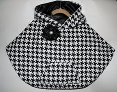 Toddler Poncho, Classic Black and White Houndstooth Wool Blend Poncho for Girls
