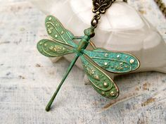 Hey, I found this really awesome Etsy listing at https://www.etsy.com/listing/61659035/verdigris-patina-dragonfly-necklace