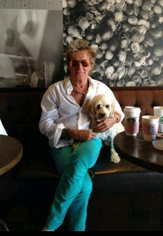 Rod Stewart and his poodle
