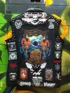 Black Burn Kutte Punk Jackets, Denim Jackets, Vic Rattlehead, Battle Jacket, Biker Leather, Shape And Form, Fabric Manipulation, Death Metal, Vest Coat