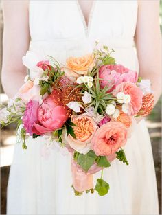 pink orange and white bouquet