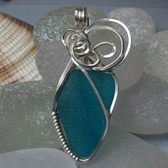 Teal Sea Glass Pendant