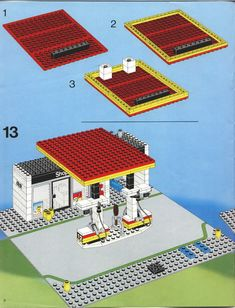 LEGO 6378 Service Station instructions displayed page by page to help you build this amazing LEGO City set Modele Lego, Lego Structures, Lego City Sets, Lego Spaceship, Vintage Lego, Fire Emblem Awakening, Lego Projects, Lego Moc, Lego Building