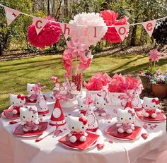 Hello kitty birthday party....pink red and white......every guest gets their own plush hello kitty