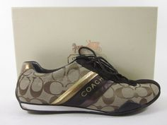 AUTH COACH Beige Brown Monogram Canvas Leather Trim Jayme Sneakers 9.5 M BOX at www.ShopLindasStuff.com