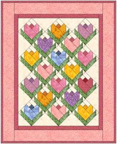 Many tuliped quilt. Log Cabin Quilt tulip design, but layer of logs are thicker and the tip cut off, making the bud part deeper.