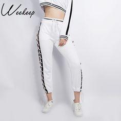 Weekeep 2017 Da Marca de Moda Feminina Lado Calças Bandage Black White Oco Out Femme Pantalon Calças Sweatpants Estilo de Rua em Calças & Capris de Das mulheres Roupas & Acessórios no AliExpress.com | Alibaba Group