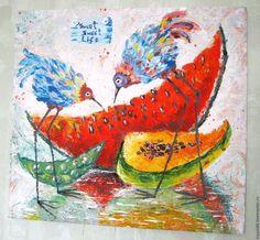Купить Везучие птицы. Картина акрилом - комбинированный, картина, картина в подарок, картина для интерьера