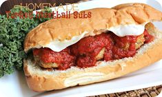 Homemade Turkey Meatball Subs from sixsistersstuff.com are the perfect game day meal this weekend! #recipes #gameday #meatballs