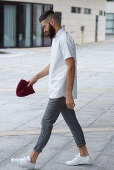 White sneakers, half sleeve shirt, grey pants, weekend