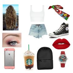 """""""AMERICA"""" by annaglew on Polyvore featuring T By Alexander Wang, Converse, Lime Crime, LifeProof, Marvel and Rains"""