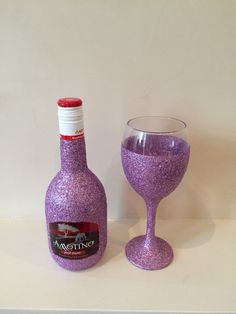 Glitter Wine Bottle  With Wine Glass By Anna-Maria £20 With Cellophane Gift Wrapped.
