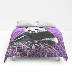 Funky lilac Panda Comforters by MehrFarbeimLeben - Queen: x Bear Drawing, Lilac, Panda, Comforters, Gift, Sweet Sweet, King Queen, Twin Xl, Bedding