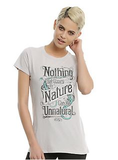 "Fitted light grey tee from <i>Fantastic Beasts and Where to Find Them </i>featuring a large stylized text design on front that reads ""Nothing That Occurs in Nature Can Be Unnatural.""<br><ul><li style=""list-style-position: inside !important; list-style-type: disc !important"">100% cotton</li><li style=""list-style-position: inside !important; list-style-type: disc !important"">Wash cold; dry low</li><li style=""list-style-position: inside !important; list-style-type: disc…"