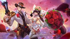 Clint Guns and Roses / Layla Cannon and Roses by makinig on DeviantArt Mobile Legend Wallpaper, Hero Wallpaper, Couple Wallpaper, Bruno Mobile Legends, Miya Mobile Legends, Moba Legends, Alucard Mobile Legends, Guns And Roses, Best Couple