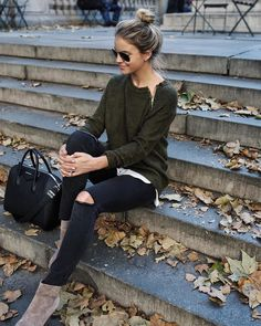 I don't like ripped jeans but otherwise cute. Love the sweater