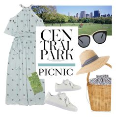 """Picnic in Central Park"" by groove-muffin ❤ liked on Polyvore featuring Temperley London, Le Specs, Edie Parker, Lara, Gray Malin, Puma and Hat Attack"