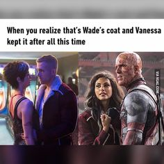 Oohh Vanessa kept Wade's coat *0* I've watched the movie 3 times and never noticed #Deadpool by marvelousfacts