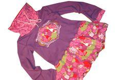 Kleid für Mädchen mit Ballonrock ( E-book CZM/CinderellasZwergenMode ) aus wunderschönen Baumwolljerseystoffen ua. von Lillestoff ( Red & White ), vorne die tolle Stickerei, der Stehkragen mit...