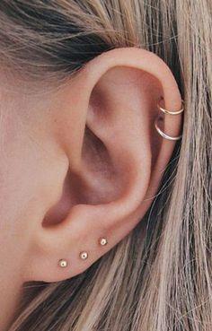 Minimalist Cartilage Ear Piercing Ideas for Women - Mini Ear Piercing . - Minimalist Cartilage Ear Piercing Ideas for Women – Mini Ear Piercing … – - Ear Piercings Chart, Pretty Ear Piercings, Piercing Chart, Ear Peircings, Types Of Ear Piercings, Multiple Ear Piercings, Different Ear Piercings, Unique Piercings, Piercing Tattoo