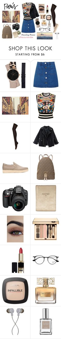 """""""Traveling France"""" by thecourieralex ❤ liked on Polyvore featuring Miss Selfridge, Givenchy, DKNY, Michael Kors, Nikon, FOSSIL, L'Oréal Paris, Guide London, Ray-Ban and CLEAN"""