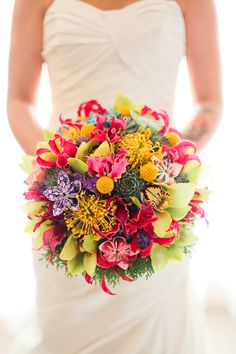 Beautiful, colorful, bright, summery wedding bouquet!!