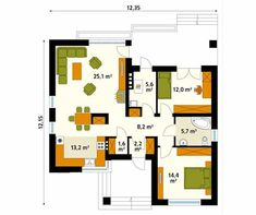 Modern walls and floors by biuro projektów mtm styl - domywstylu. Best Modern House Design, Small House Design, Affordable Prefab Homes, My House Plans, Modern Bungalow, Home Budget, Modern Architecture, Floor Plans, How To Plan