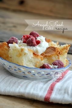 Angel Food Cake ~ Ingredients      1 3/4 cups sugar     1/4 teaspoon salt     1 cup cake flour, sifted     12 egg whites     1/3 cup warm water     1 teaspoon almond extract     1 1/2 teaspoons cream of tartar    Instructions      Preheat oven to 350 degrees F. (Read all instructions): Bake for 25-35 minutes (depending on the pan you used) before checking for done-ness with a toothpick.