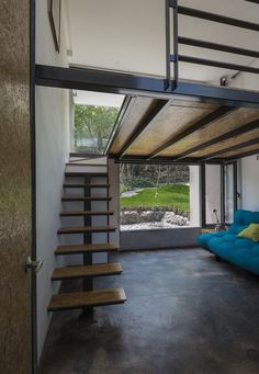 Image 9 of 37 from gallery of RGT House / GBF Taller de Arquitectura. Photograph by Luis Gordoa Mezzanine Bedroom, Bedroom Loft, Mezzanine Floor, Tiny House Loft, Tiny House Design, Loft Interior Design, Loft Design, Casa Loft, Casas Containers