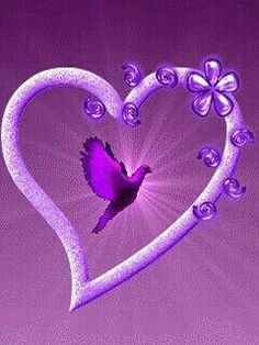 """Purple heart Love this heart! Love the bird flying within the heart itself. Makes my heart """" soar"""", too!"""