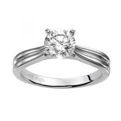 """""""Irene"""" solitaire engagement ring with engraved band"""