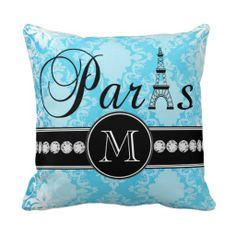Girly Blue Vintage Damask Black Paris Monogram Pillows